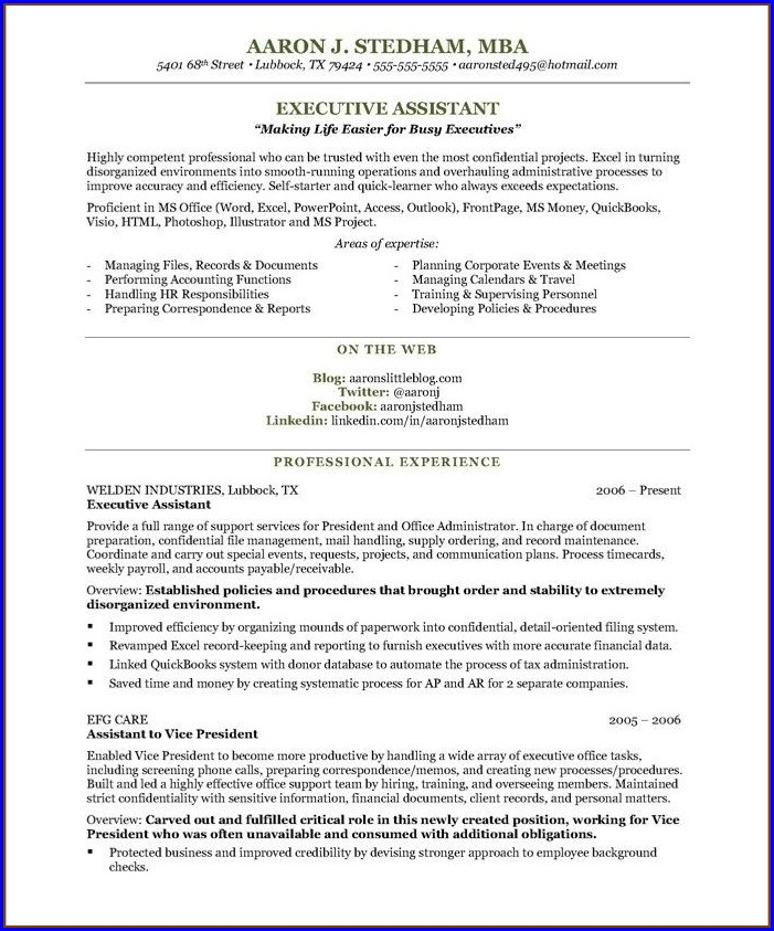 Sample Resumes For Executive Assistants
