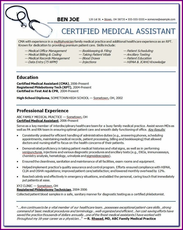 Samples Of Resume Objectives For Medical Assistant
