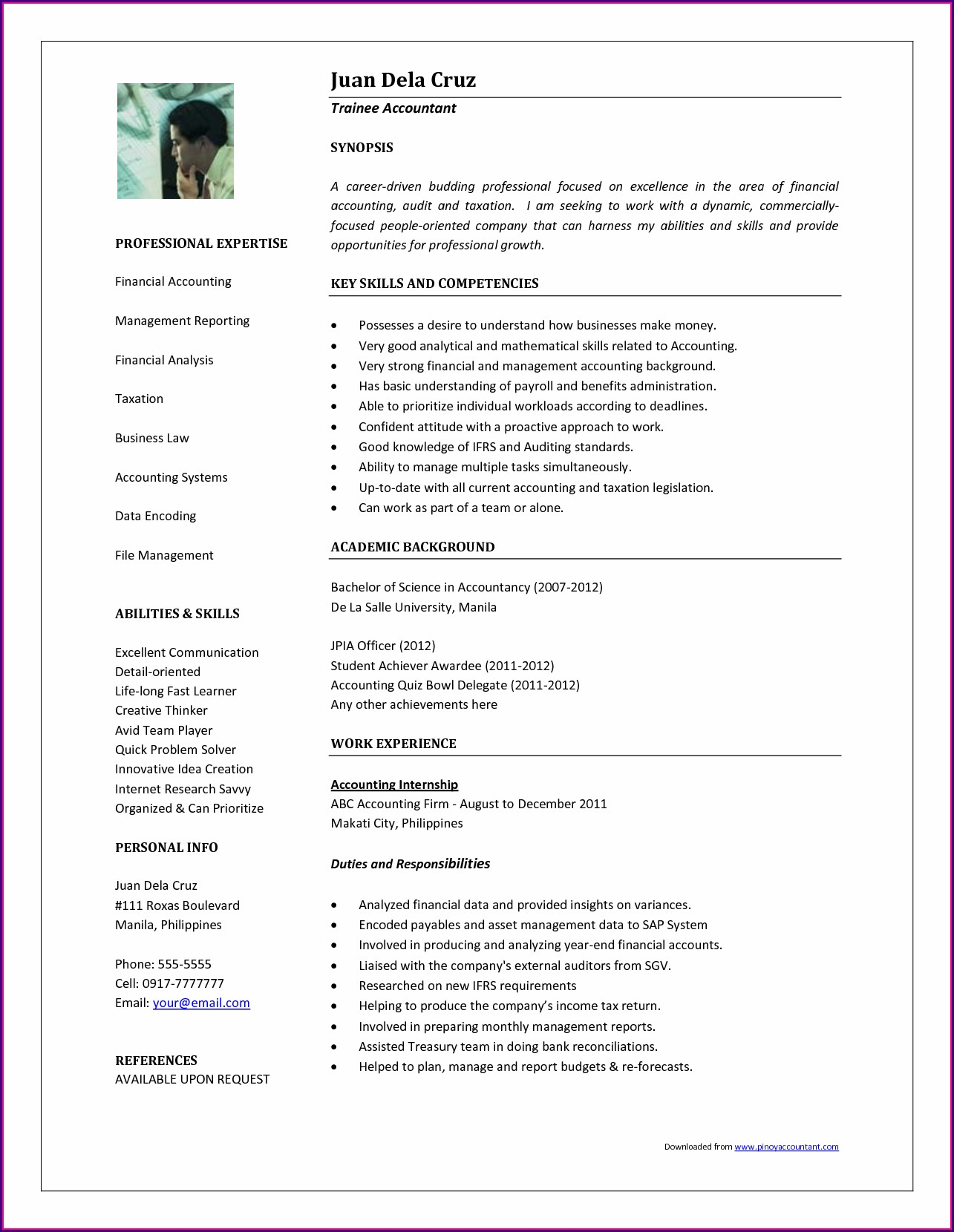 Samples Of Resumes For Accounting Jobs