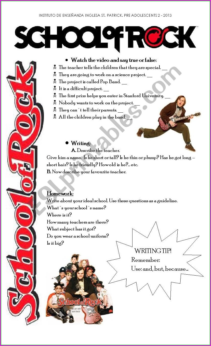 School Of Rock Worksheet Esl