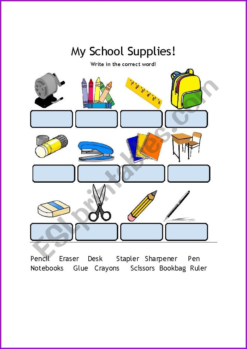 School Supplies Worksheet Esl