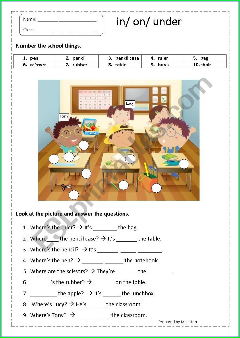School Things Worksheet For Grade 1