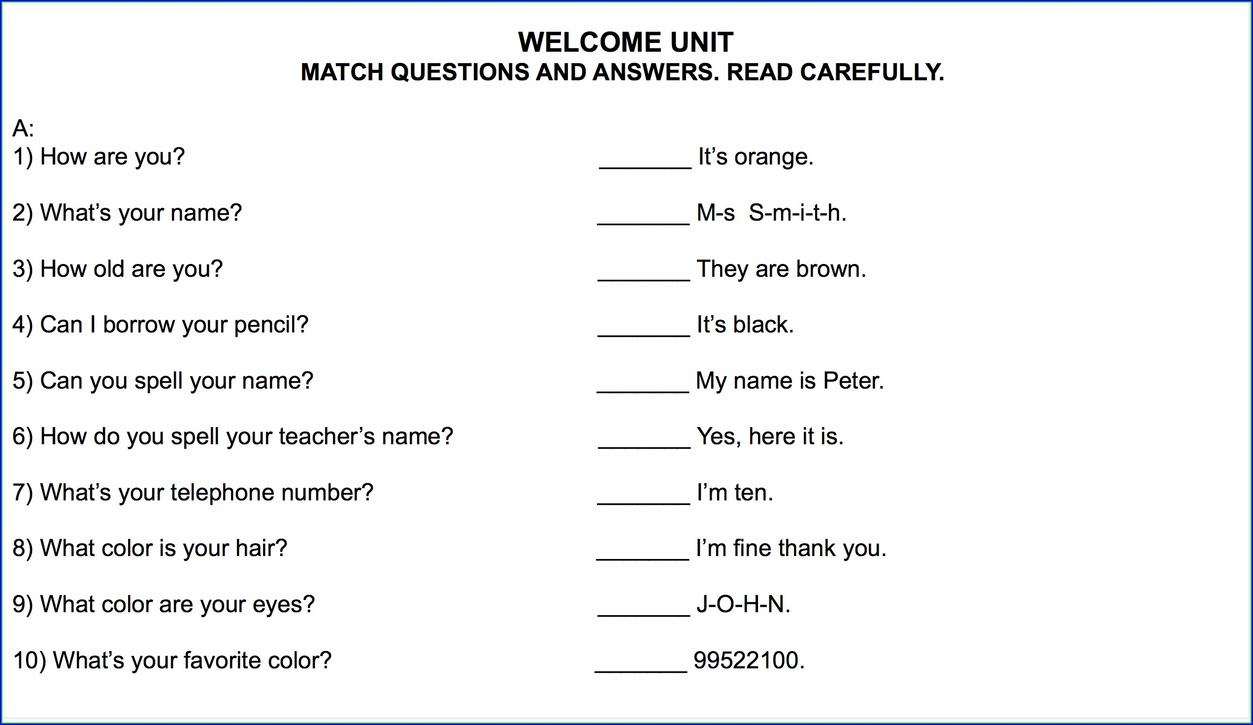School Worksheets For 3rd Graders