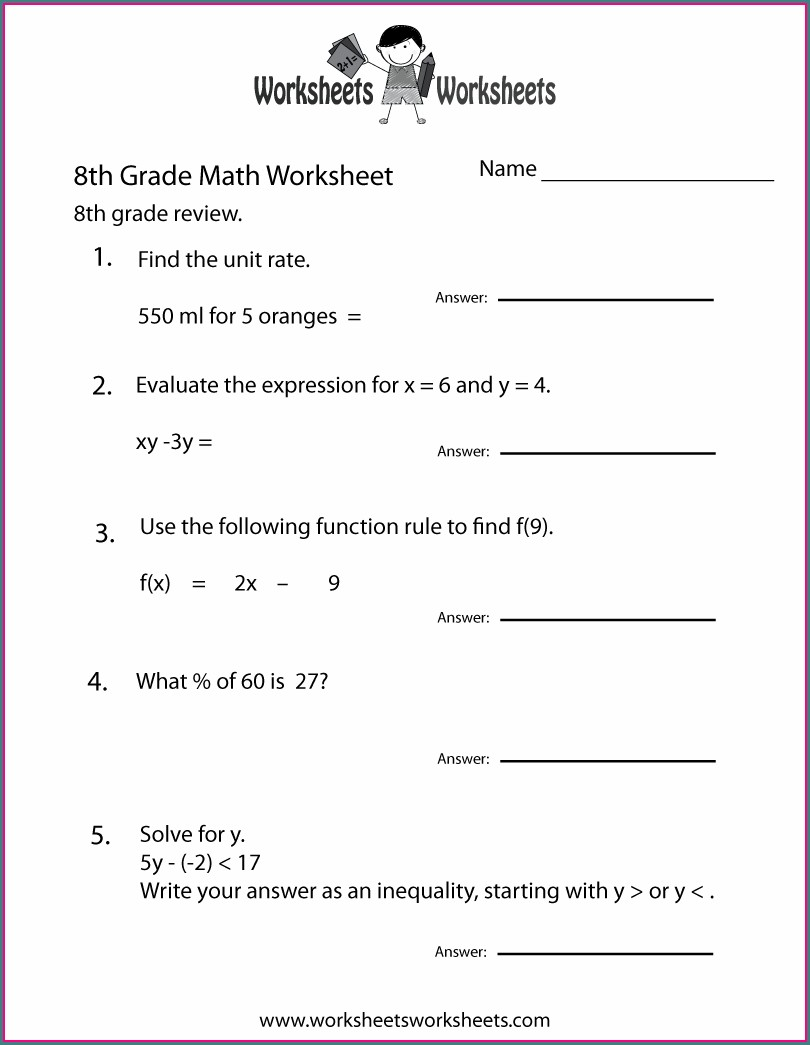 School Worksheets For 8th Graders
