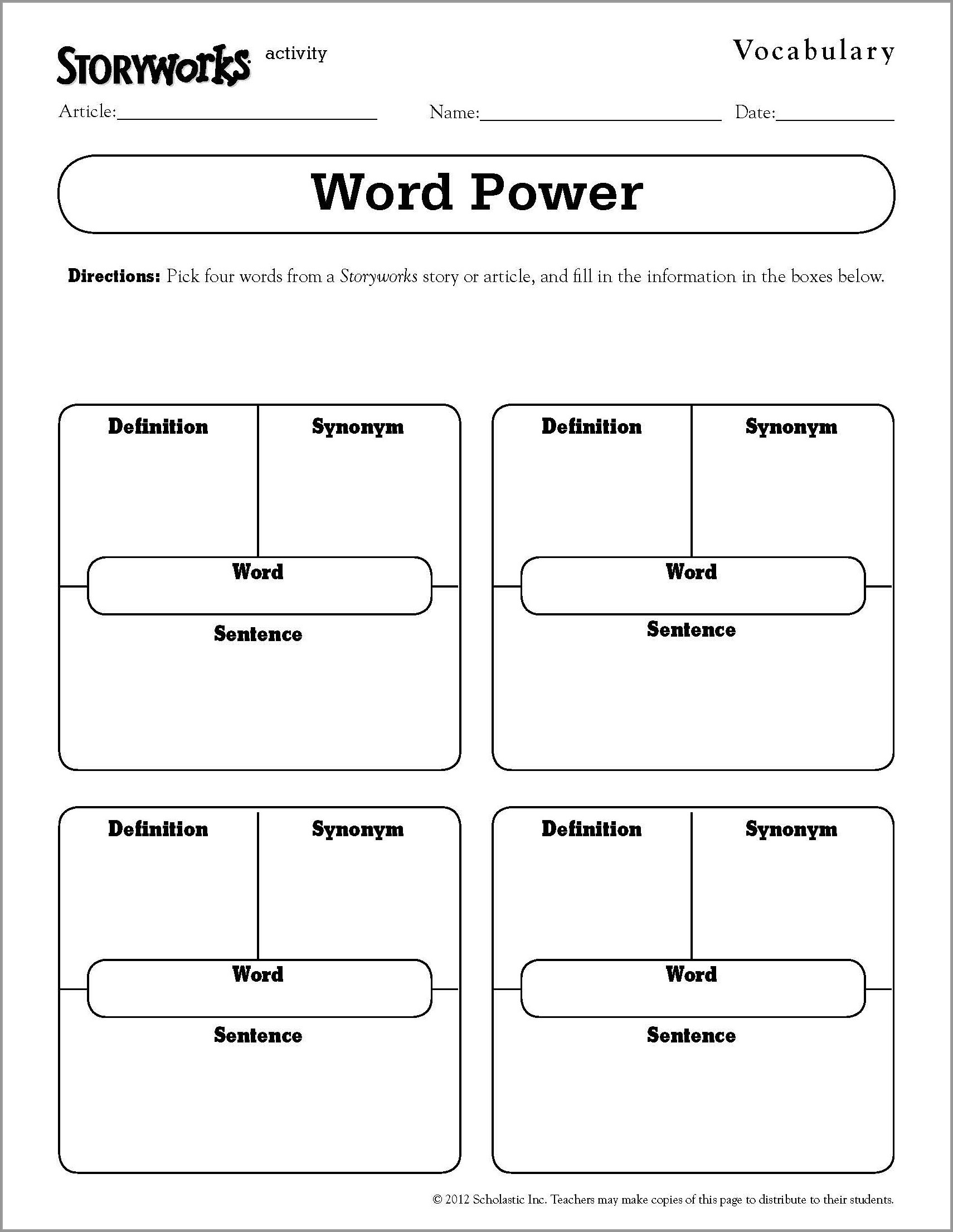 Science Vocabulary Worksheet Template