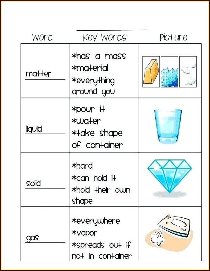 Science Worksheet About Matter