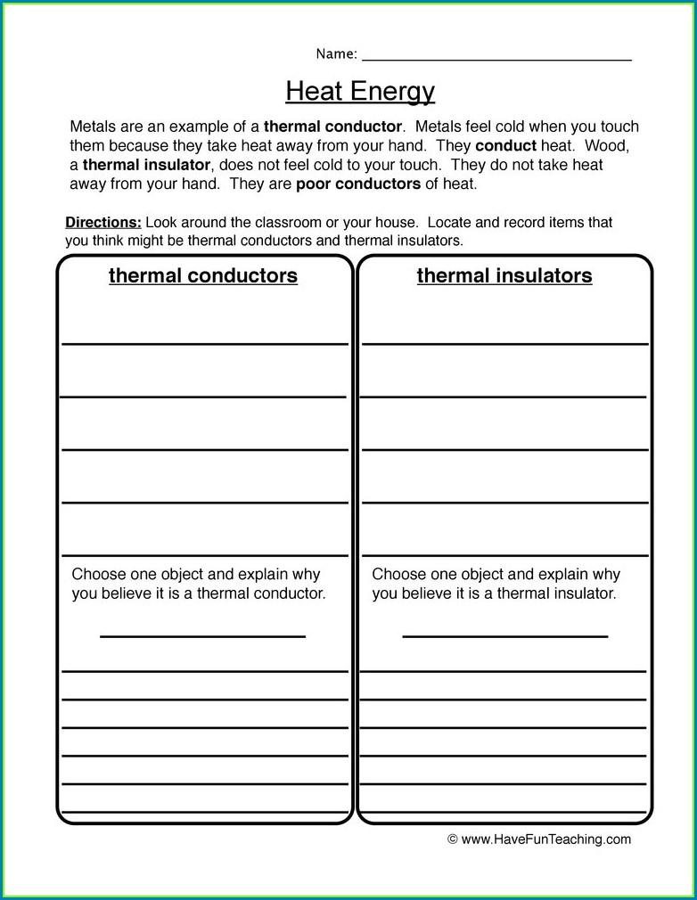 Science Worksheet Conductorsinsulators