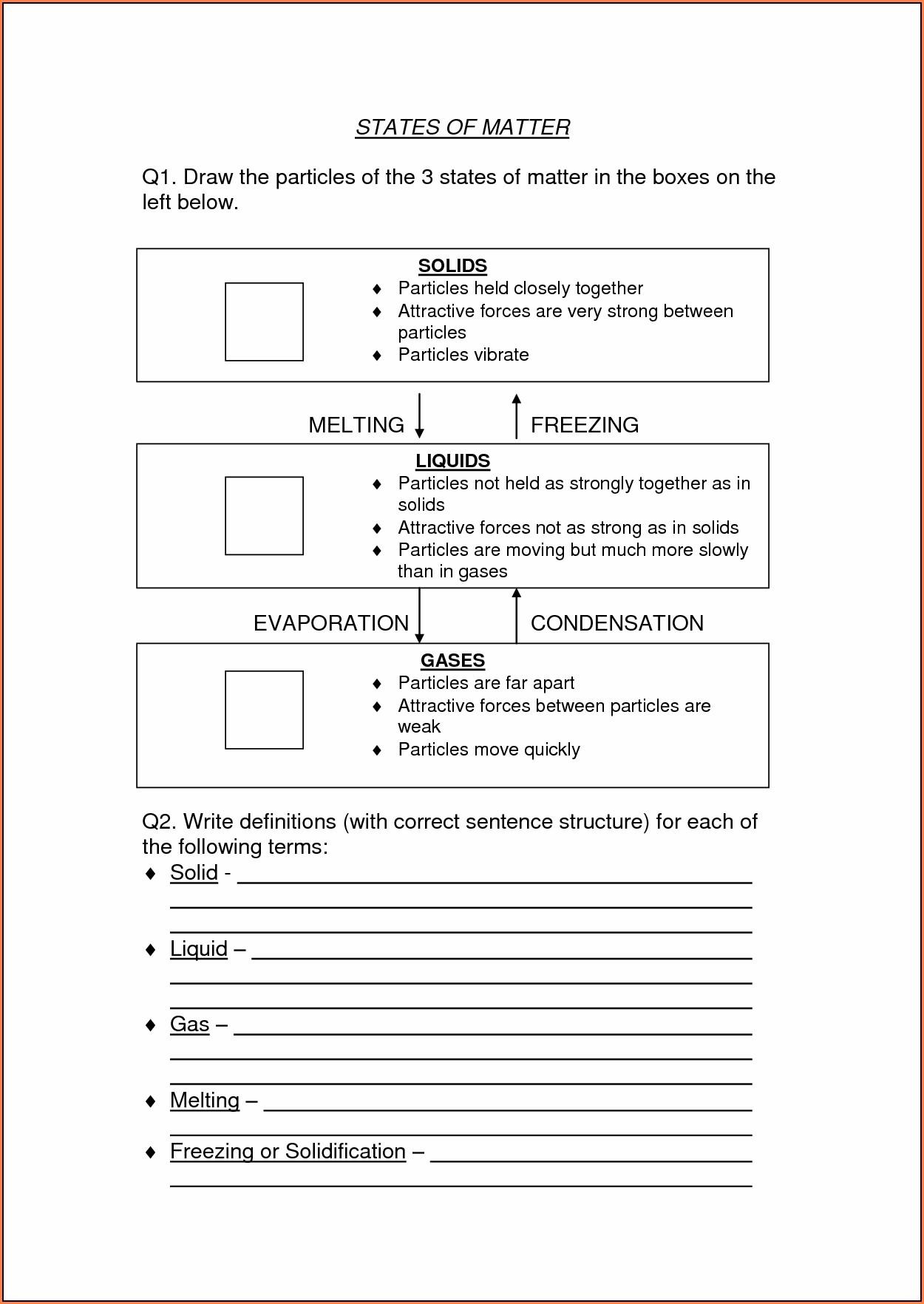 Science Worksheet Grade 5