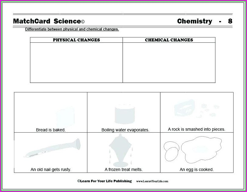 Science Worksheet Physical And Chemical Changes