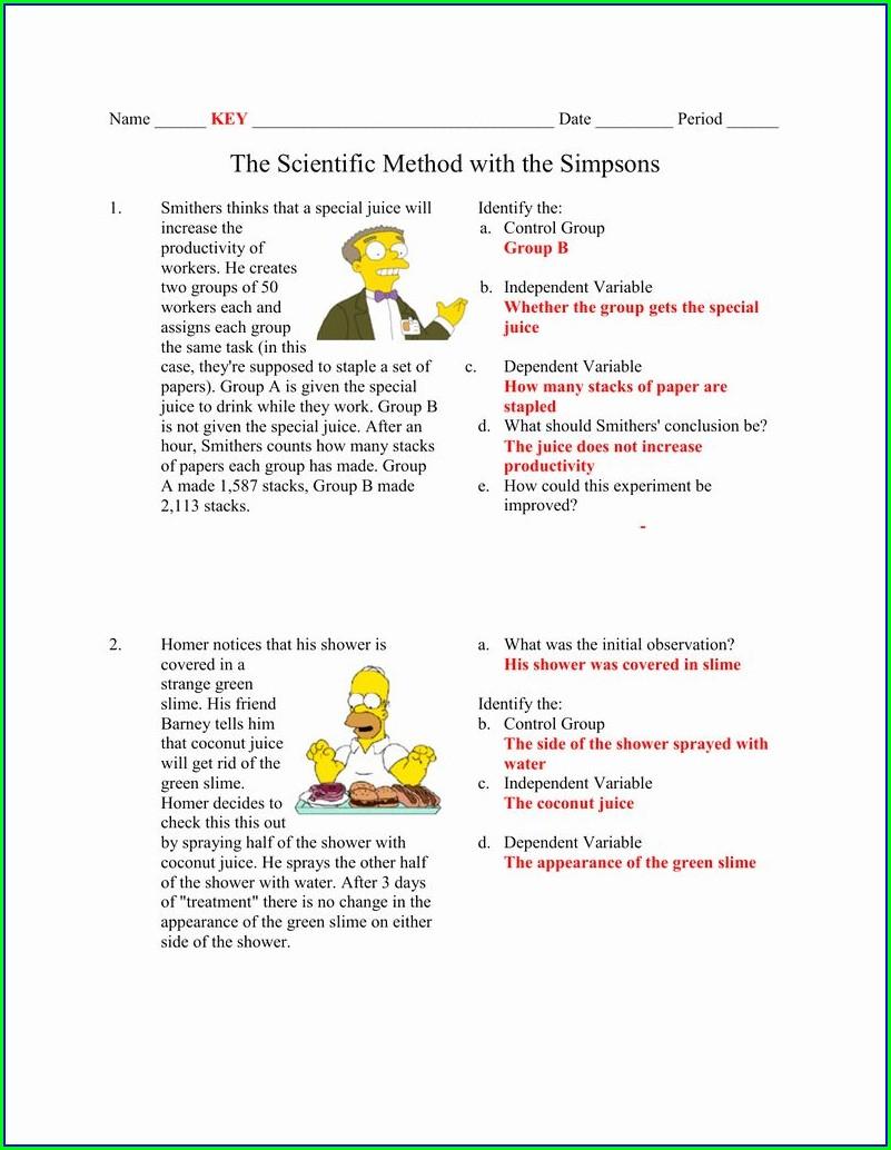 Scientific Method And Variables Worksheet