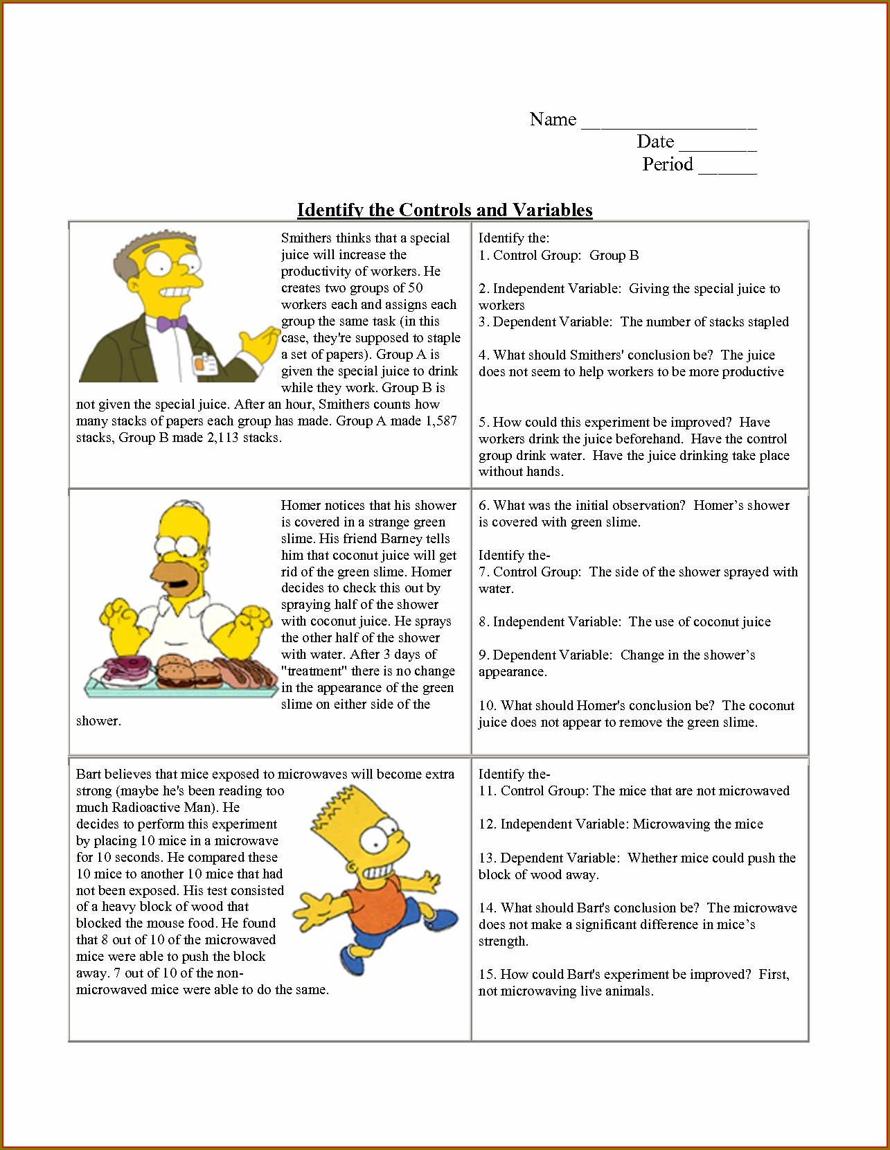 Scientific Method Identifying Variables Worksheet Answers