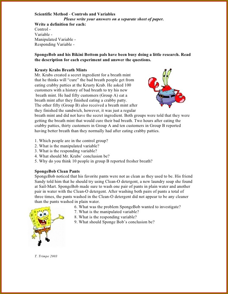 Scientific Method Identifying Variables Worksheet