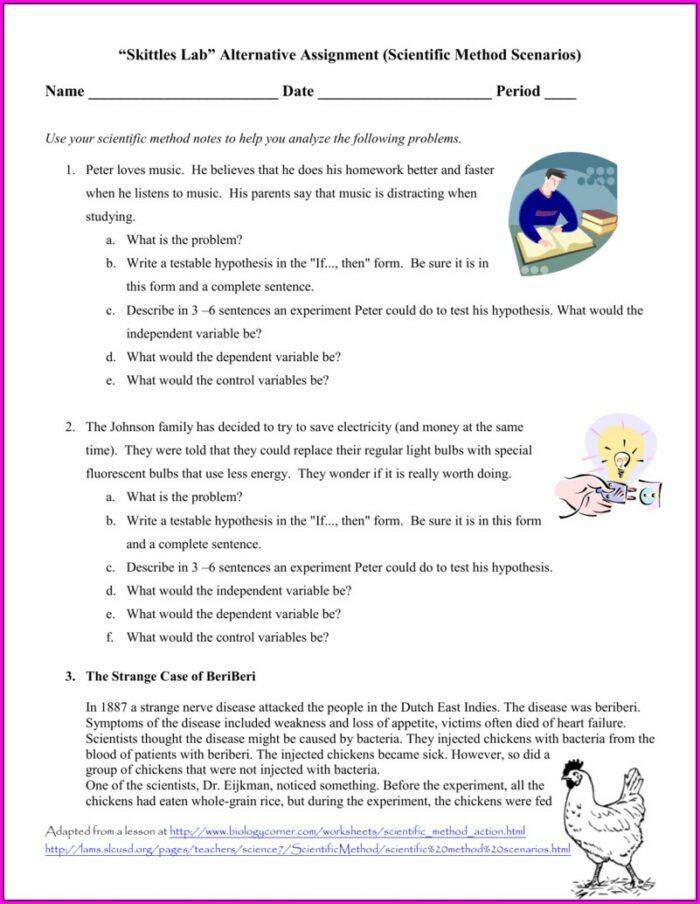 Scientific Method Practice Scenarios Worksheet Answers