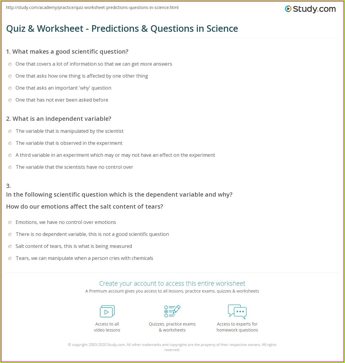 Scientific Method Testable Questions Worksheet Answer Key