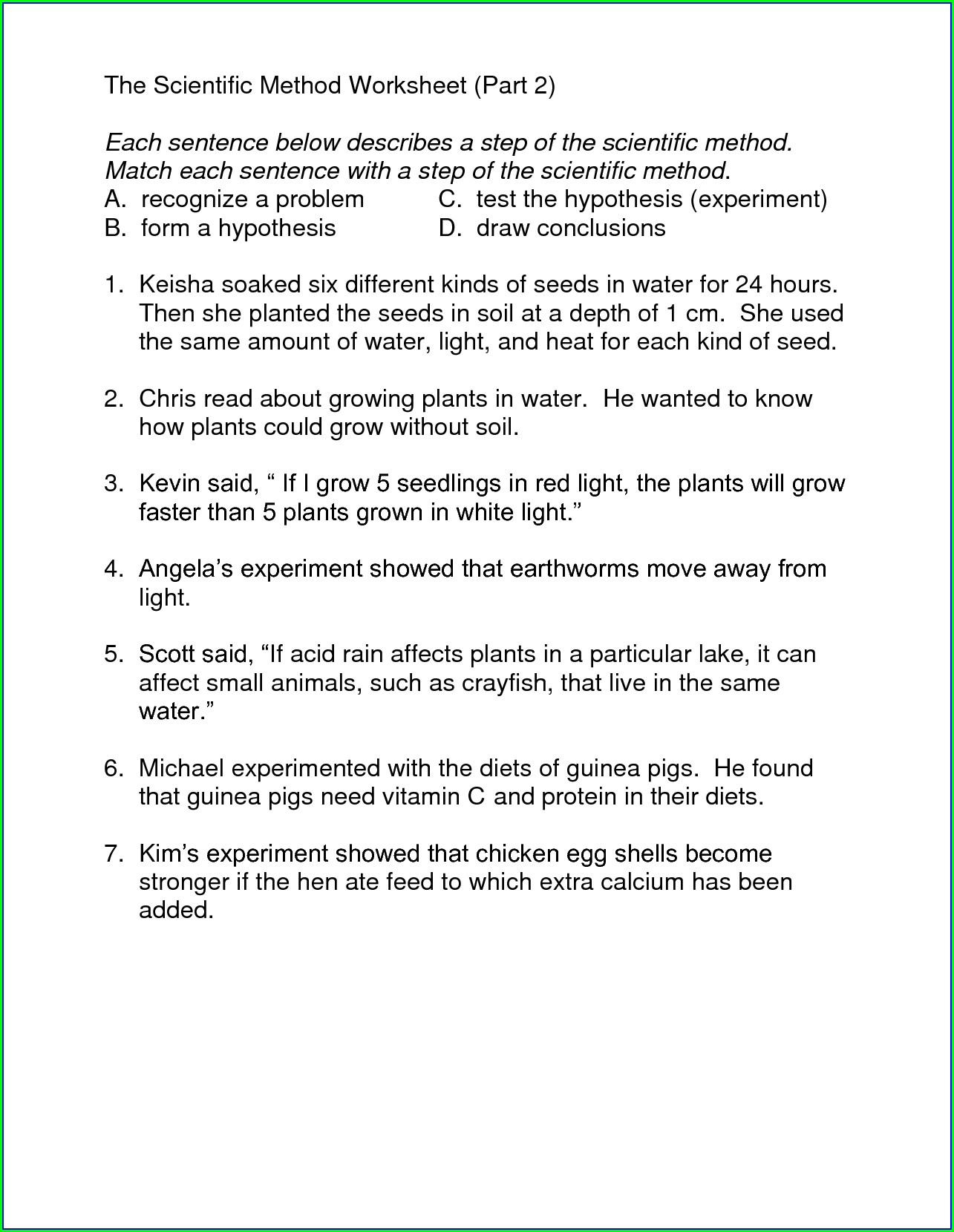 Scientific Method Worksheet Page 2 Of 7