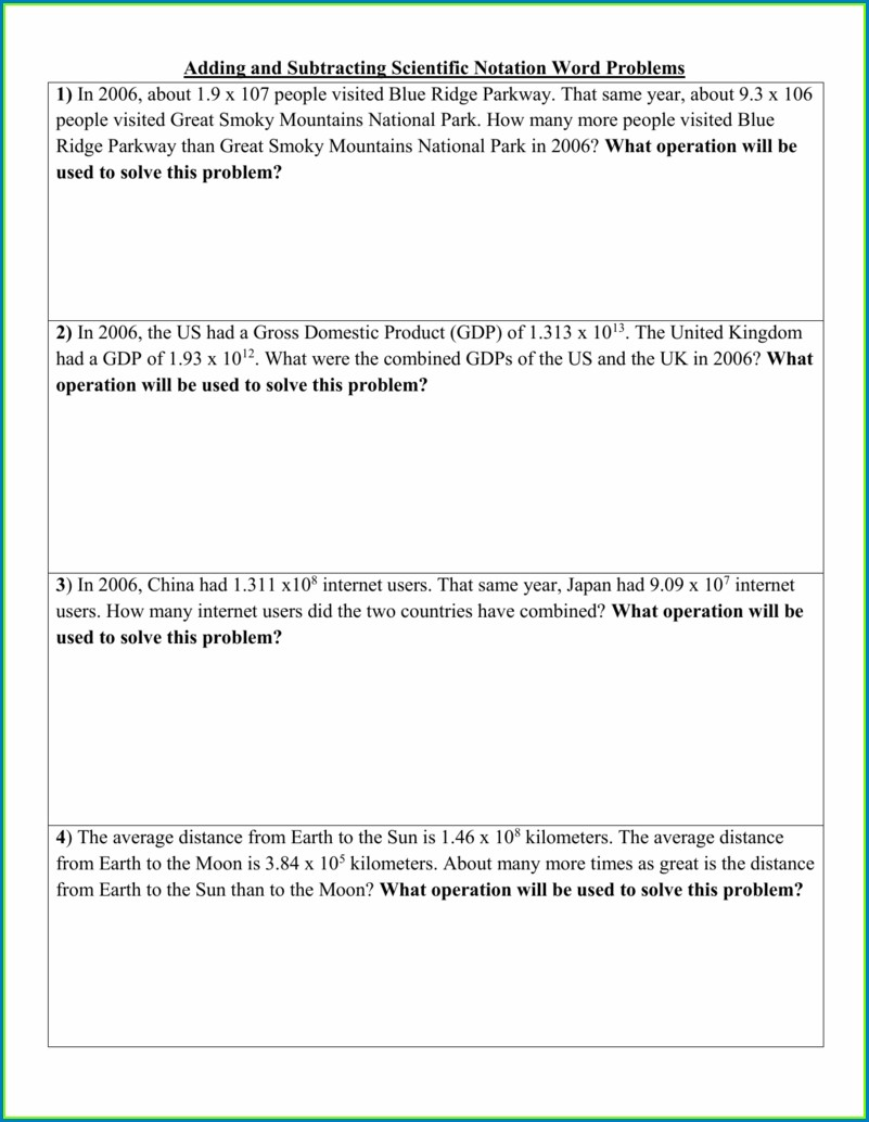 Scientific Notation Word Problems Worksheet With Answers