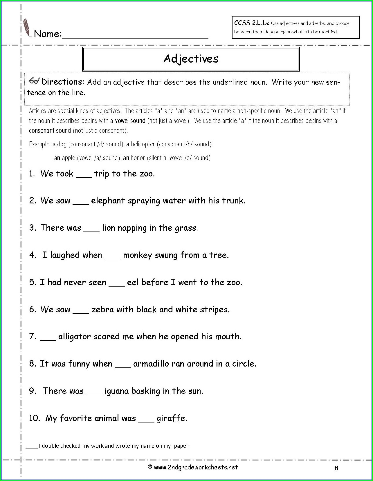 Second Grade Class 2 English Worksheet