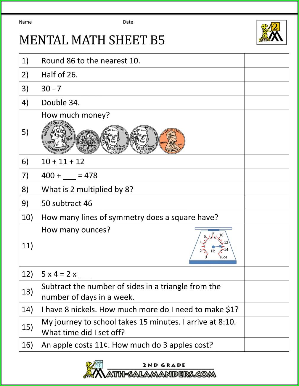Second Grade Mental Math Worksheets Grade 2