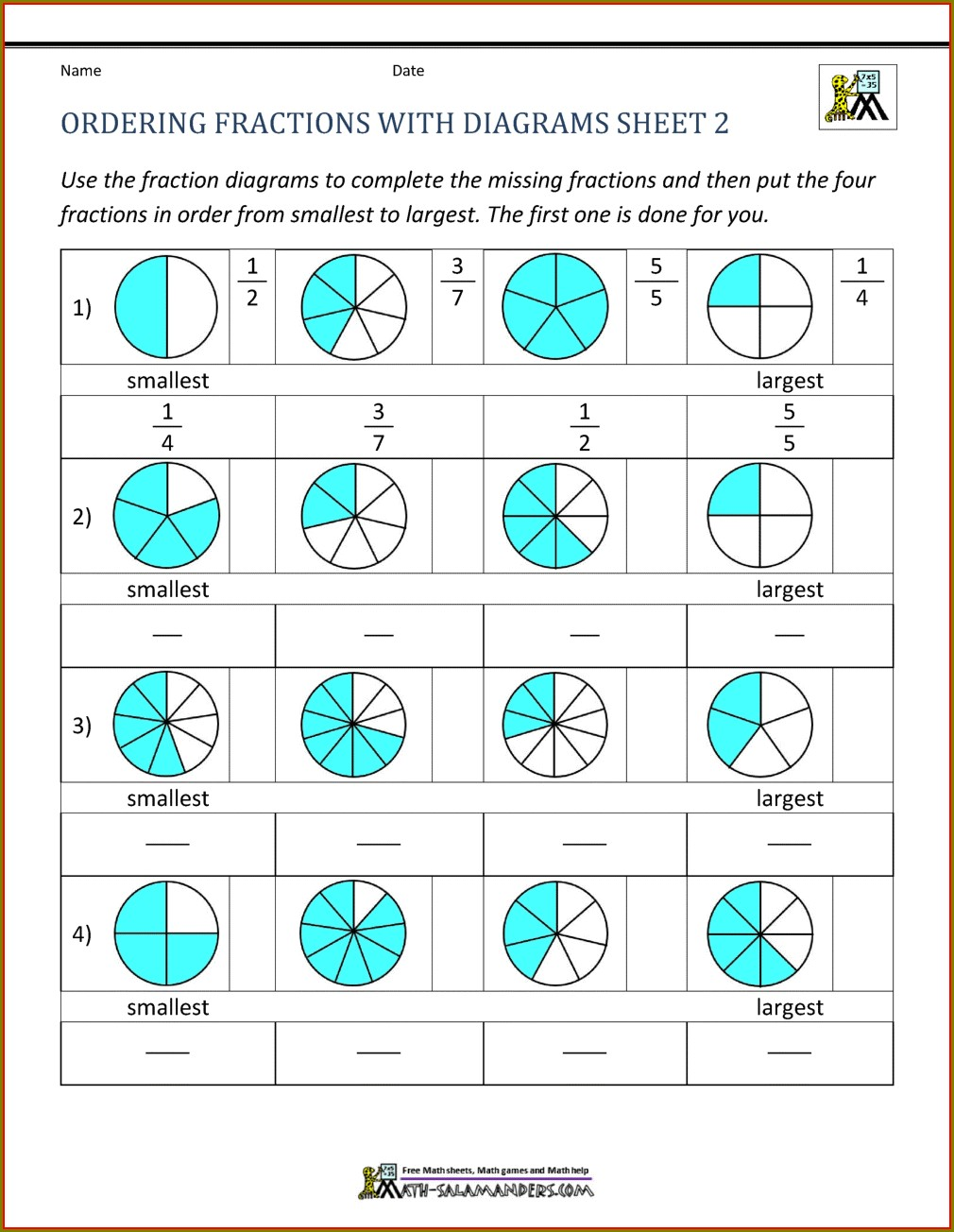 Second Grade Ordering Fractions Worksheet