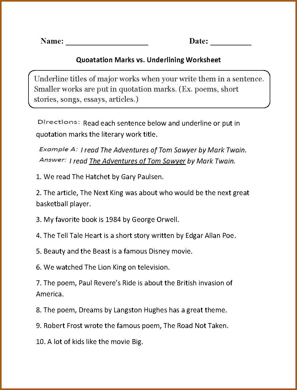 Second Grade Quotation Marks Worksheet