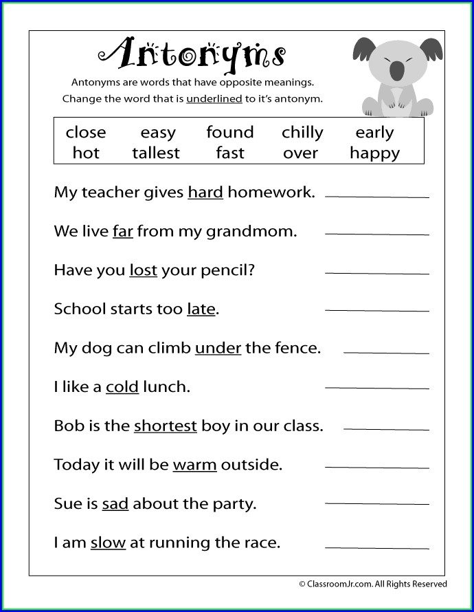 Second Grade Synonyms And Antonyms Worksheet Grade 2
