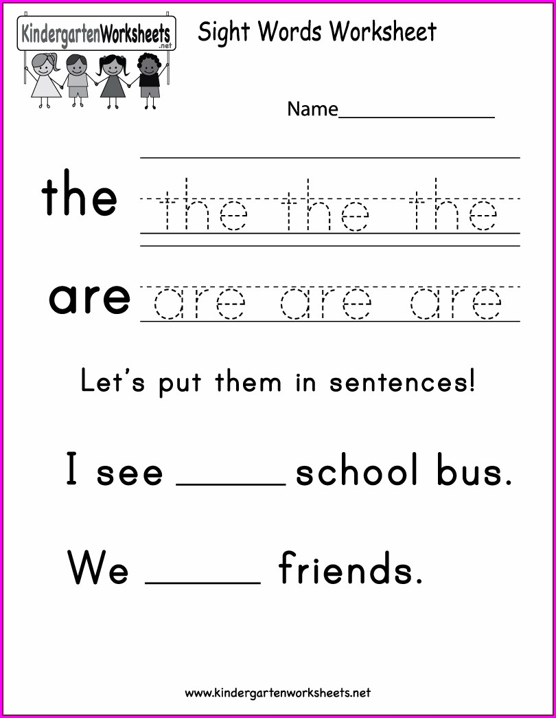Sight Words Worksheet For Kindergarten
