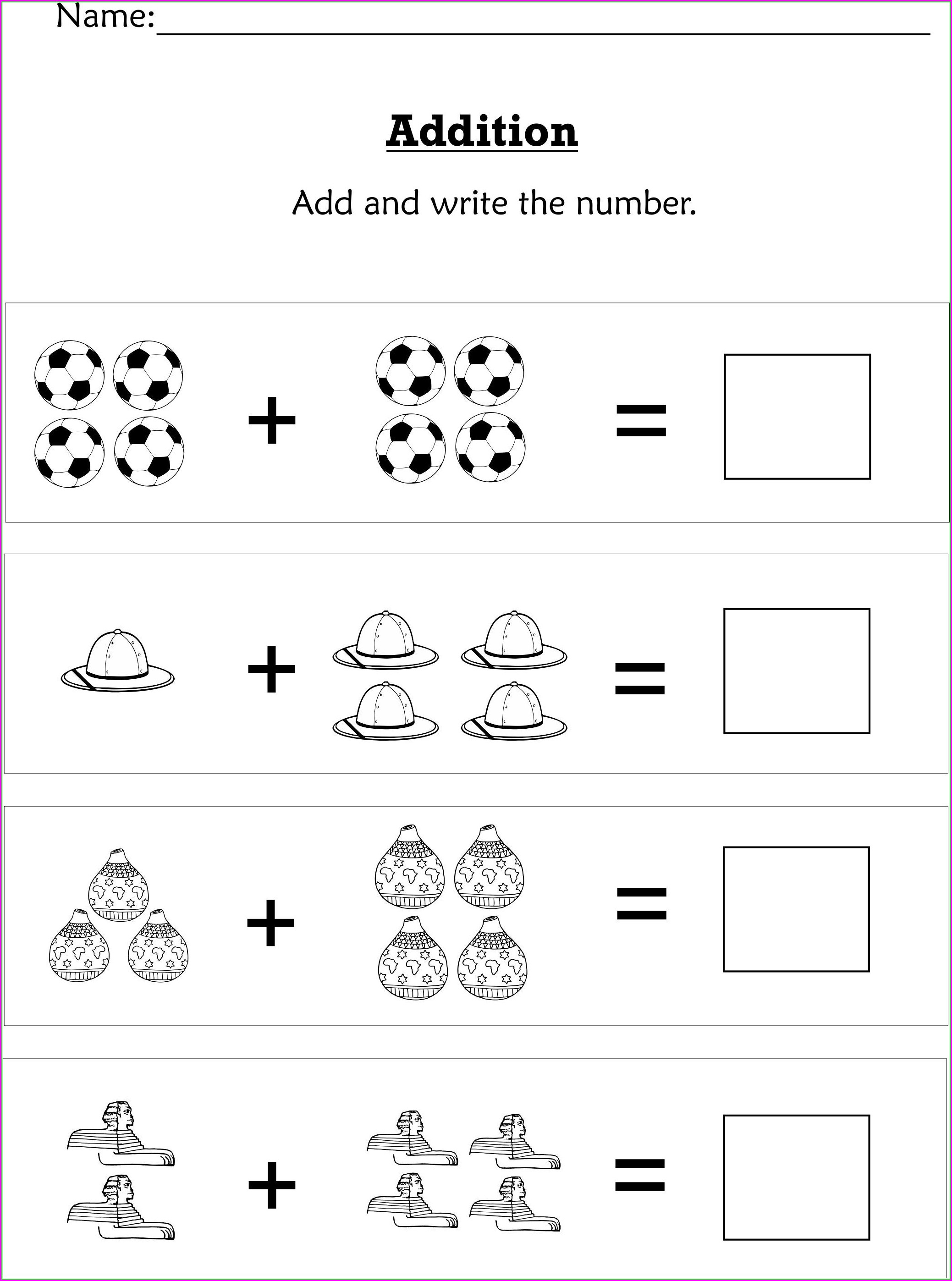 Simple Addition Math Worksheets For Preschoolers