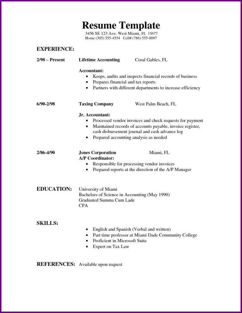 Simple Basic Professional Resume Format