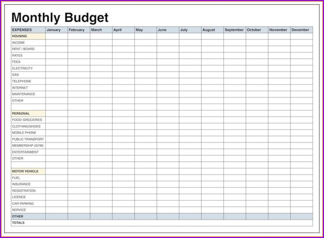 Simple Home Budget Worksheet