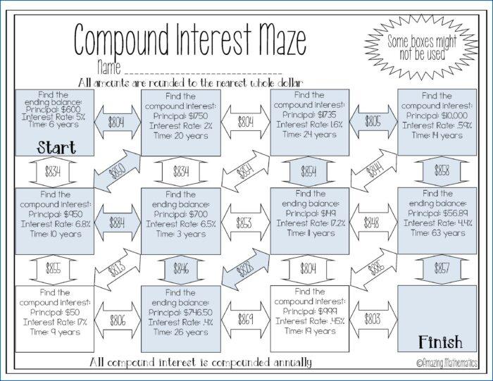 Simple Interest Math Worksheet