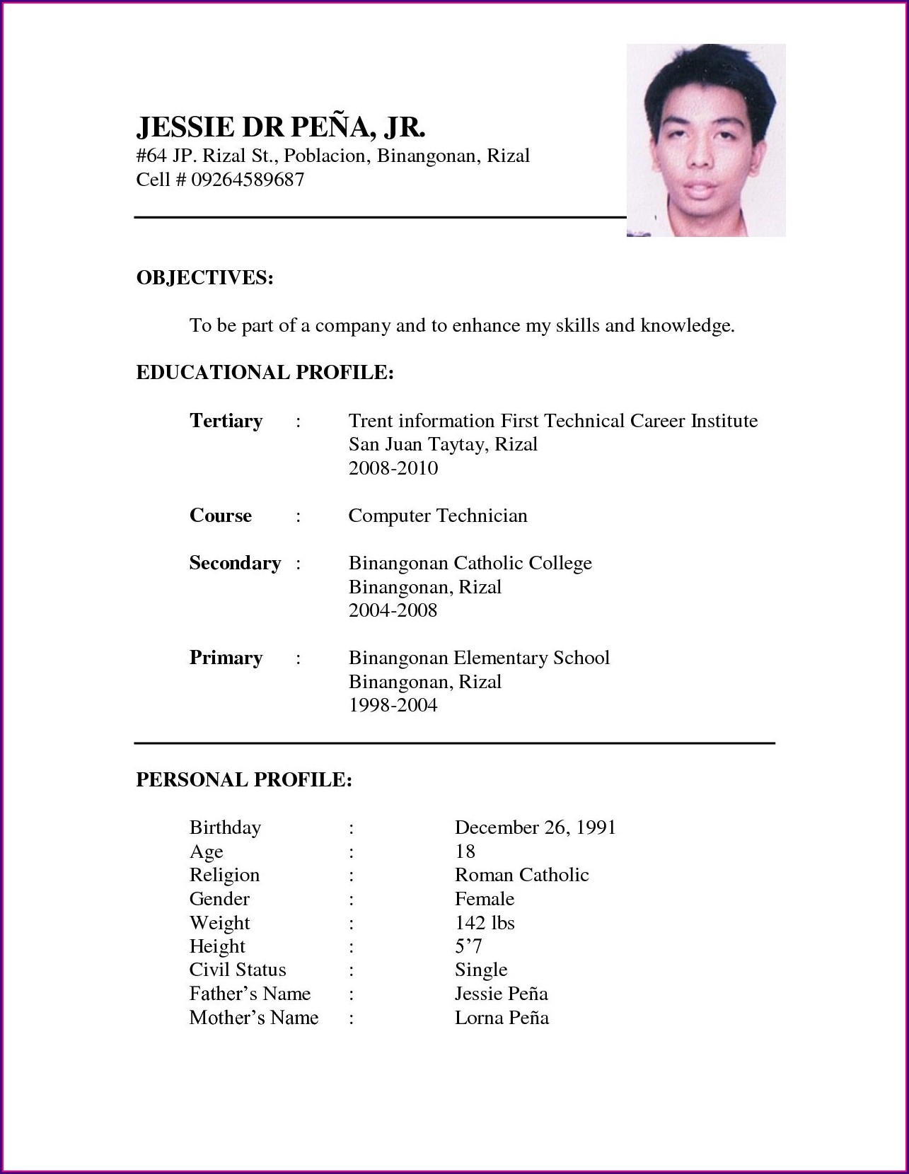 Simple Job Application Resume Format Doc