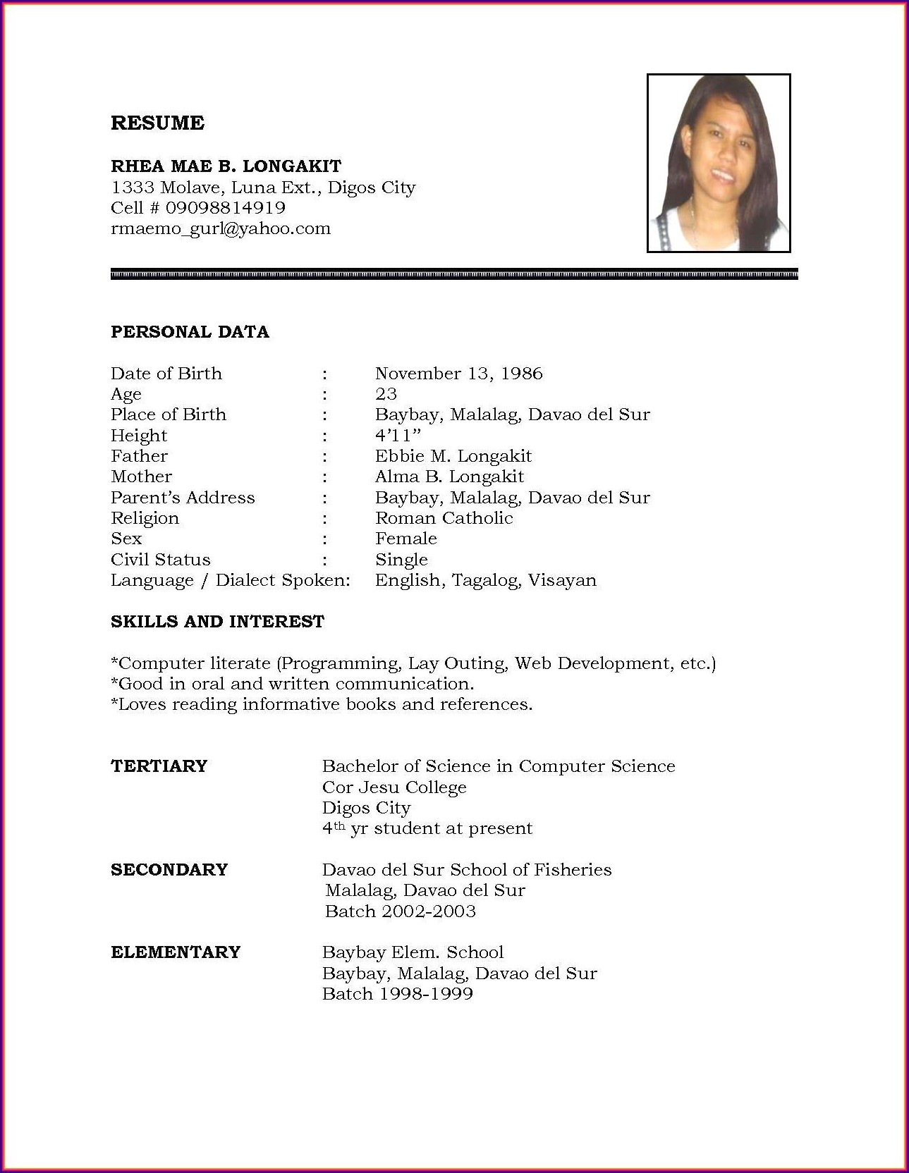 Simple Job Format Resume Examples