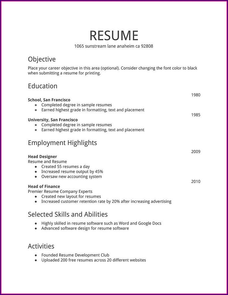 Simple Job Professional Resume Examples