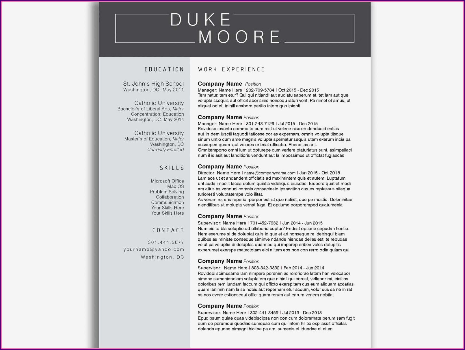 Simple Resume Format Download Doc
