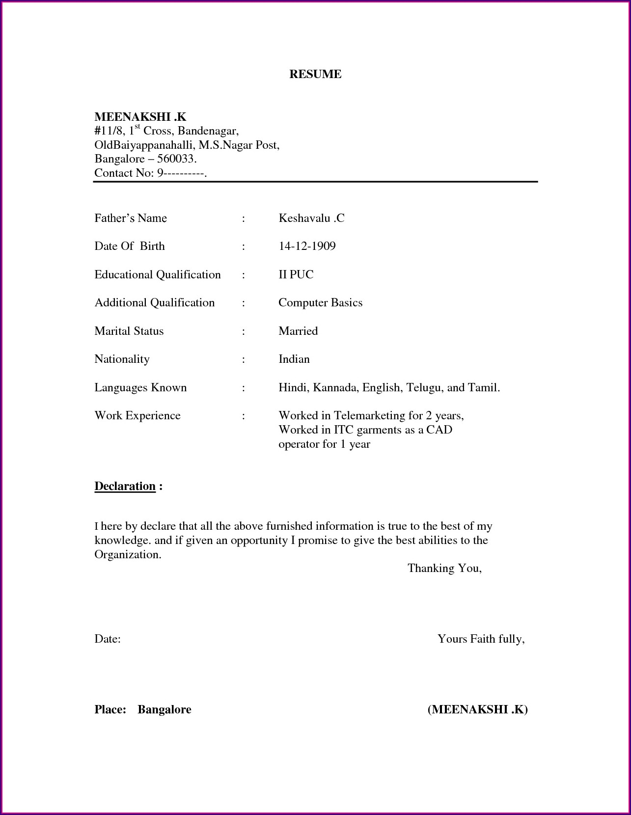Simple Resume Format Download In Ms Word Pdf