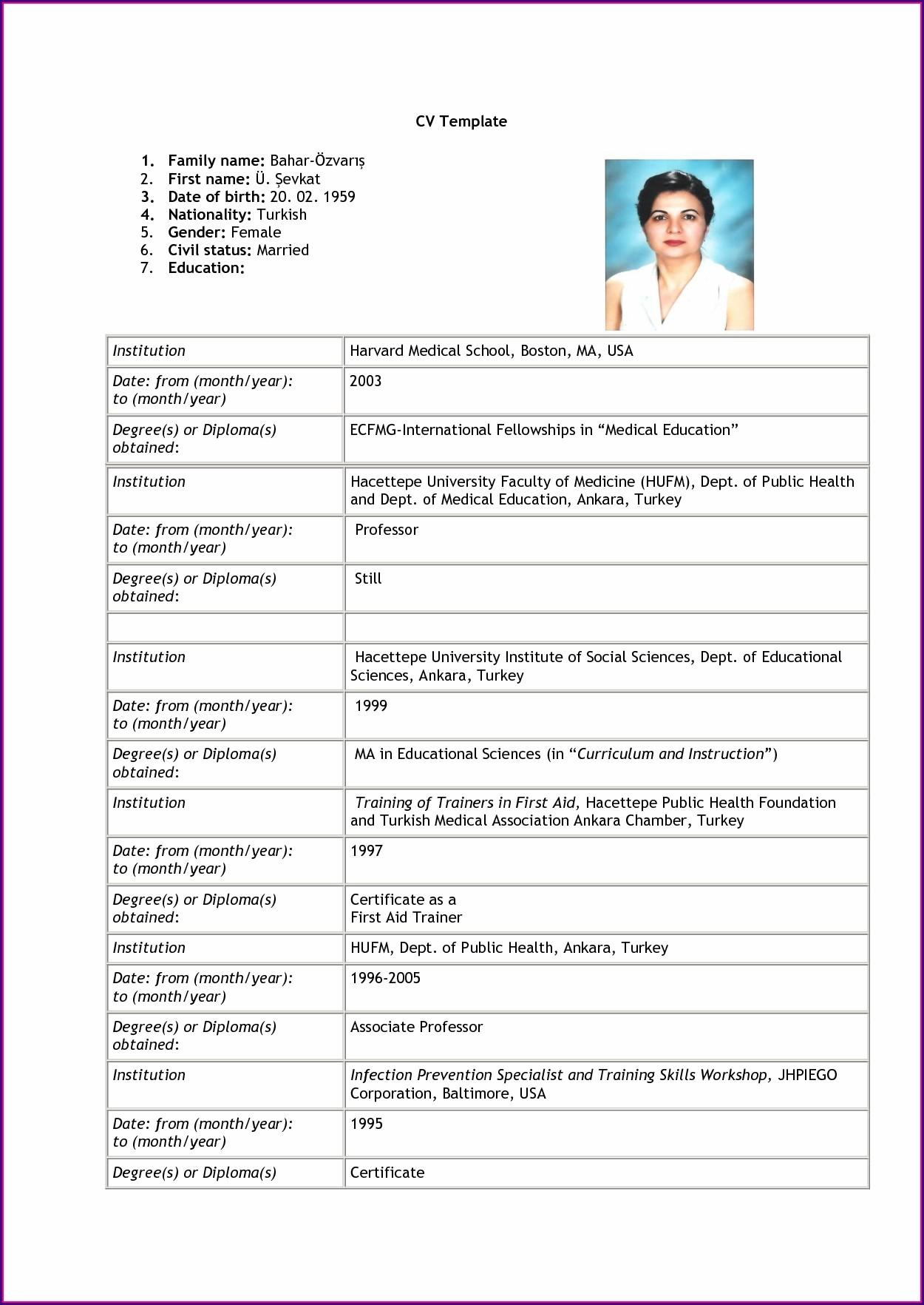 Simple Resume Format Download Pdf Free