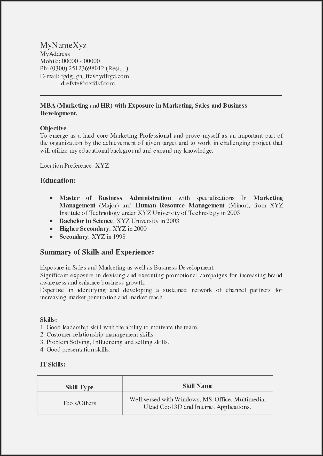 Simple Resume Format For Freshers Doc Download