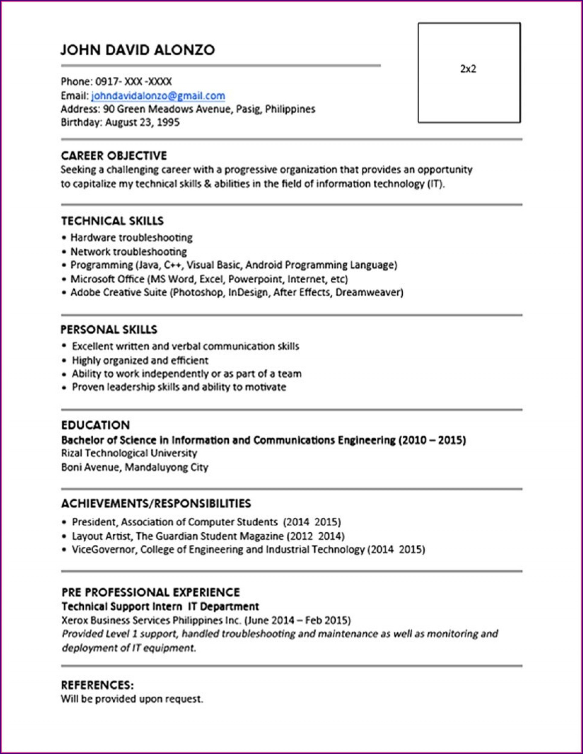 Simple Resume Format For Freshers Free Download In Ms Word
