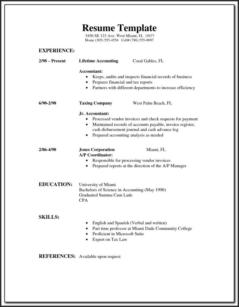 Simple Resume Format Sample Doc