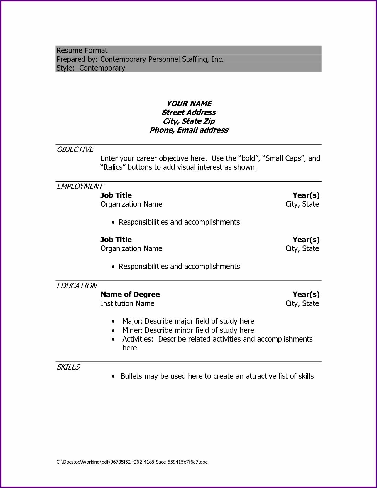 Simple Resume Format Sample Download