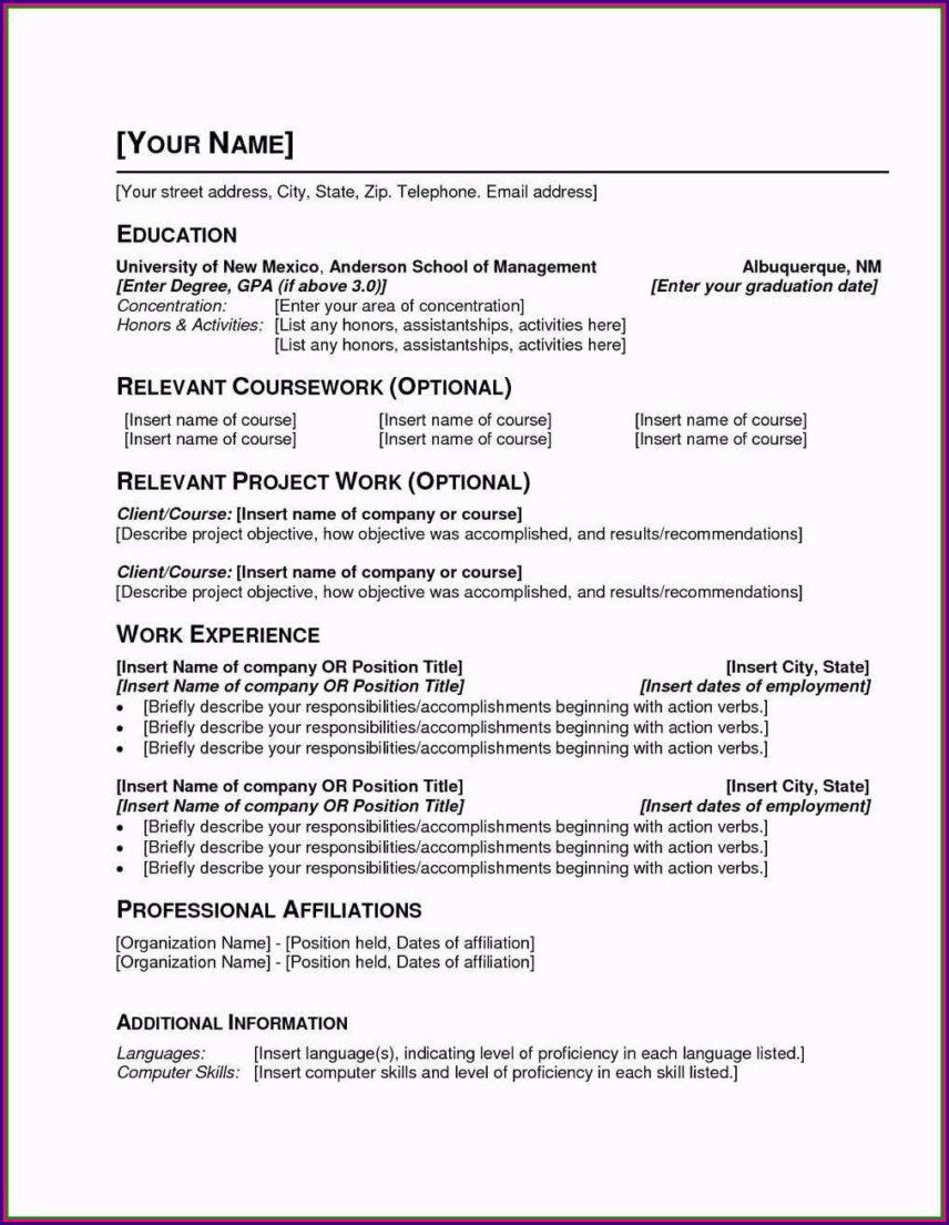 Simple Resume Format Sample For Students