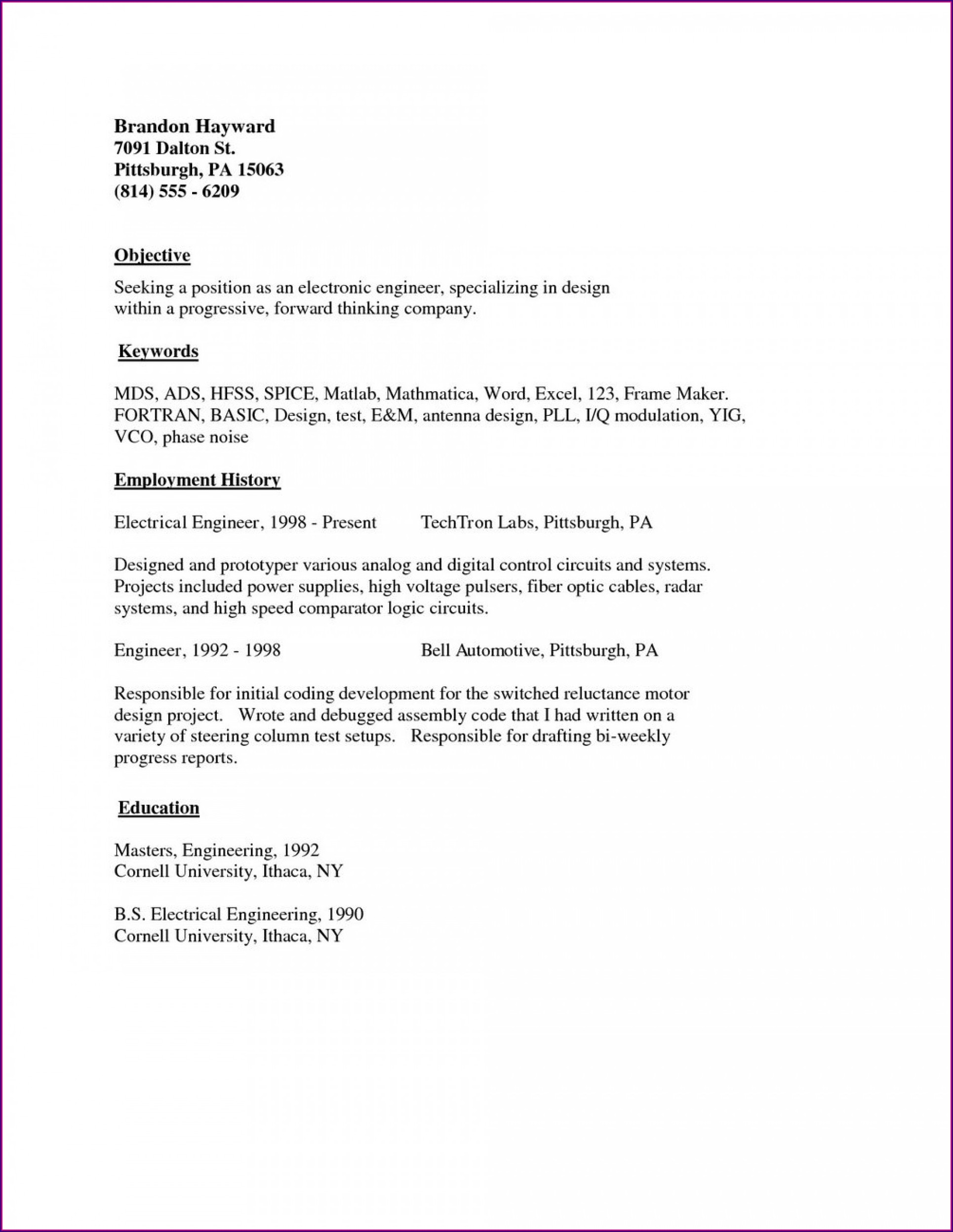 Simple Student Resume Format Pdf Download