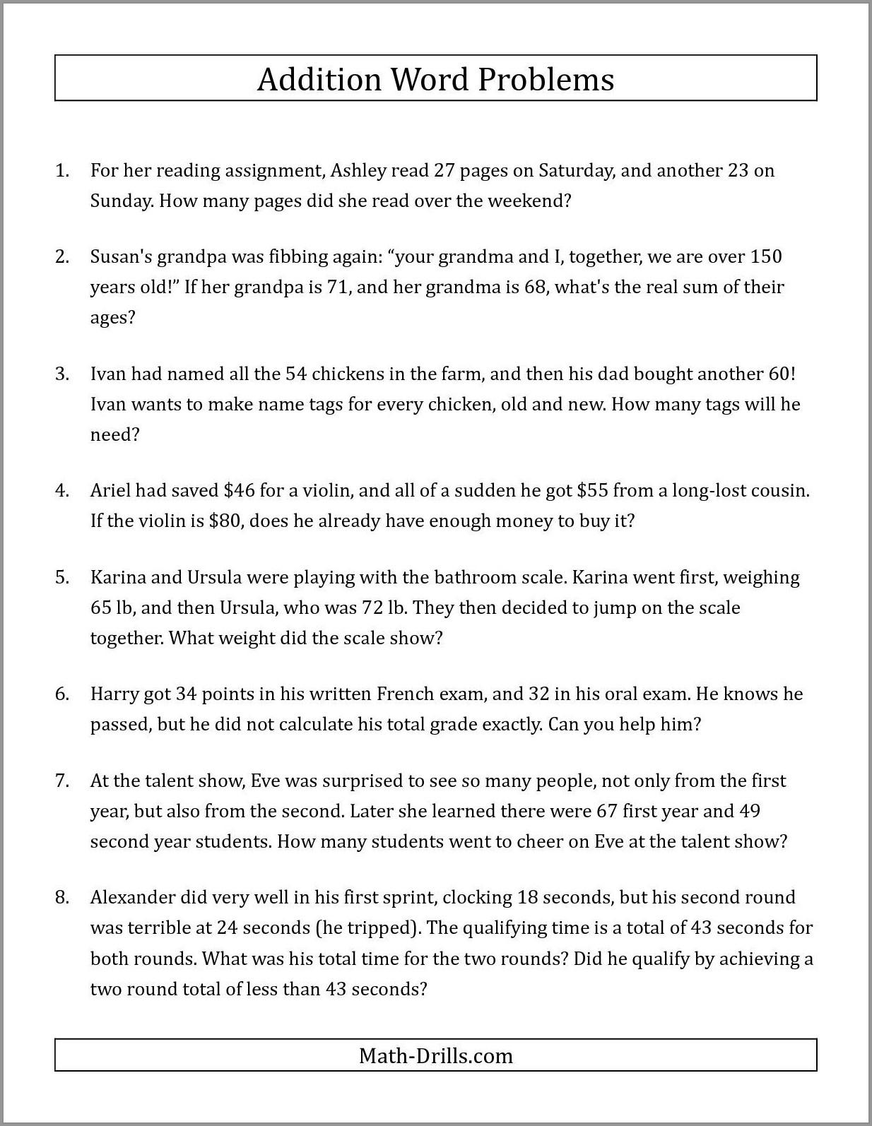 Simple Time Word Problem Worksheets