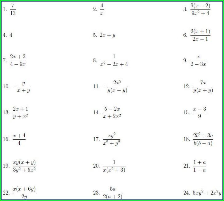 Simplifying Algebraic Fractions Worksheet