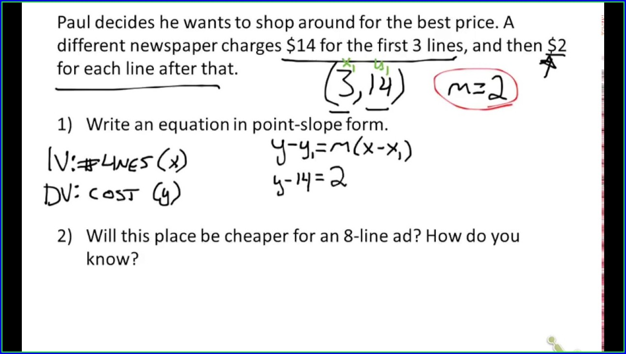 Slope Intercept Word Problems Worksheet With Answers