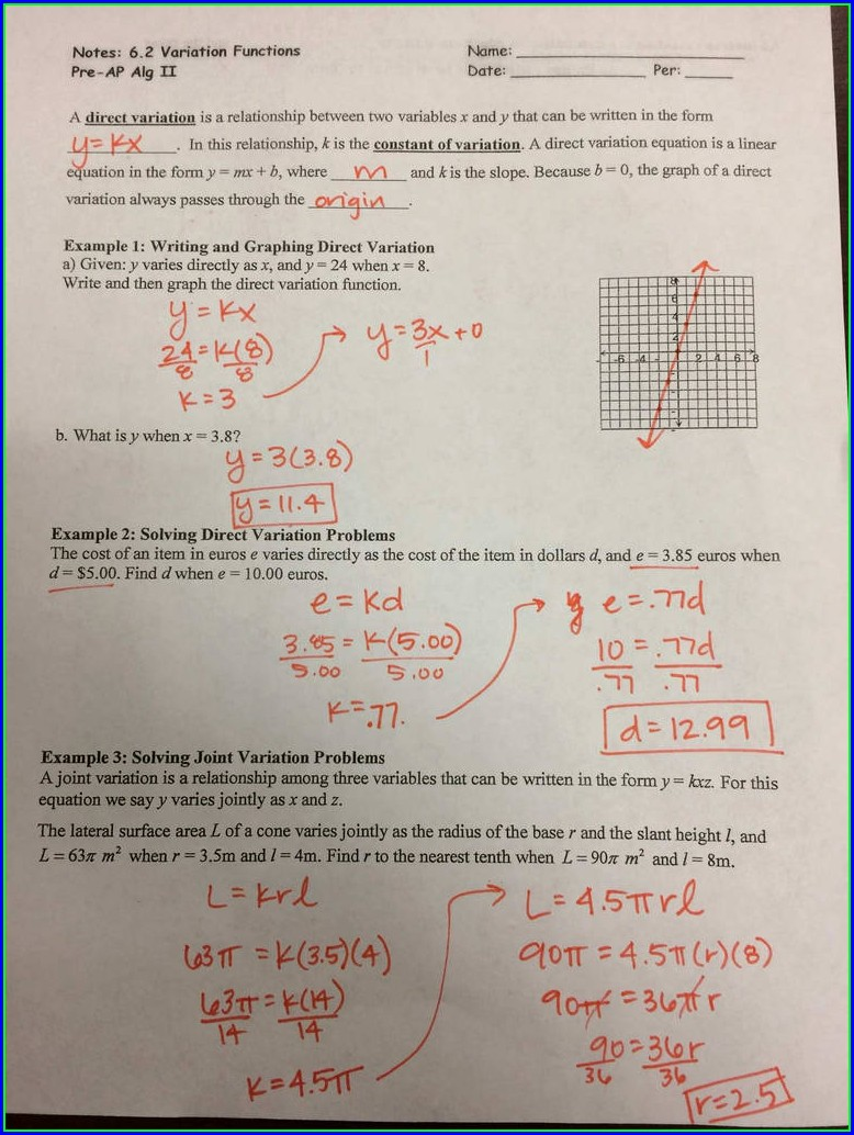 Slope Intercept Word Problems Worksheet