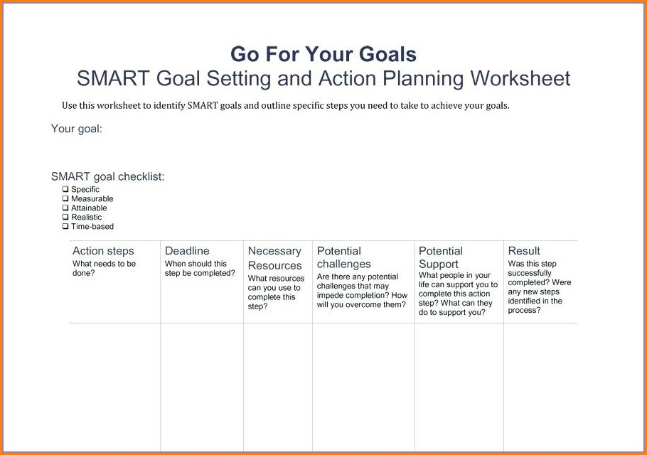 Smart Goal Setting Worksheet Answers