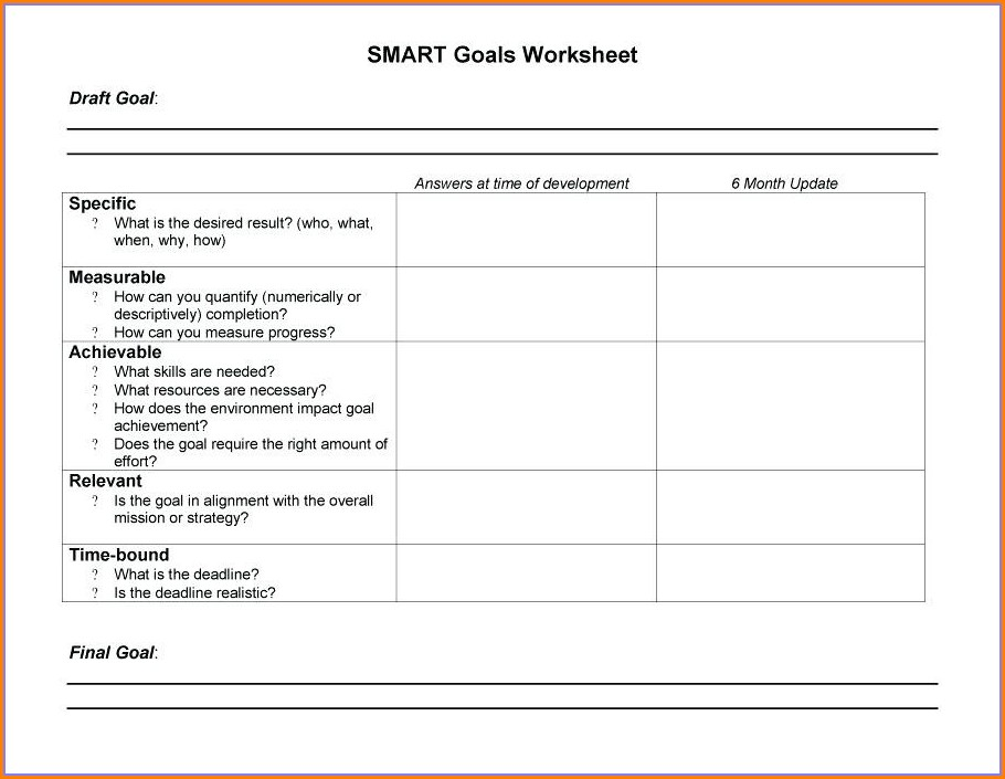 Smart Goal Setting Worksheet For Weight Loss