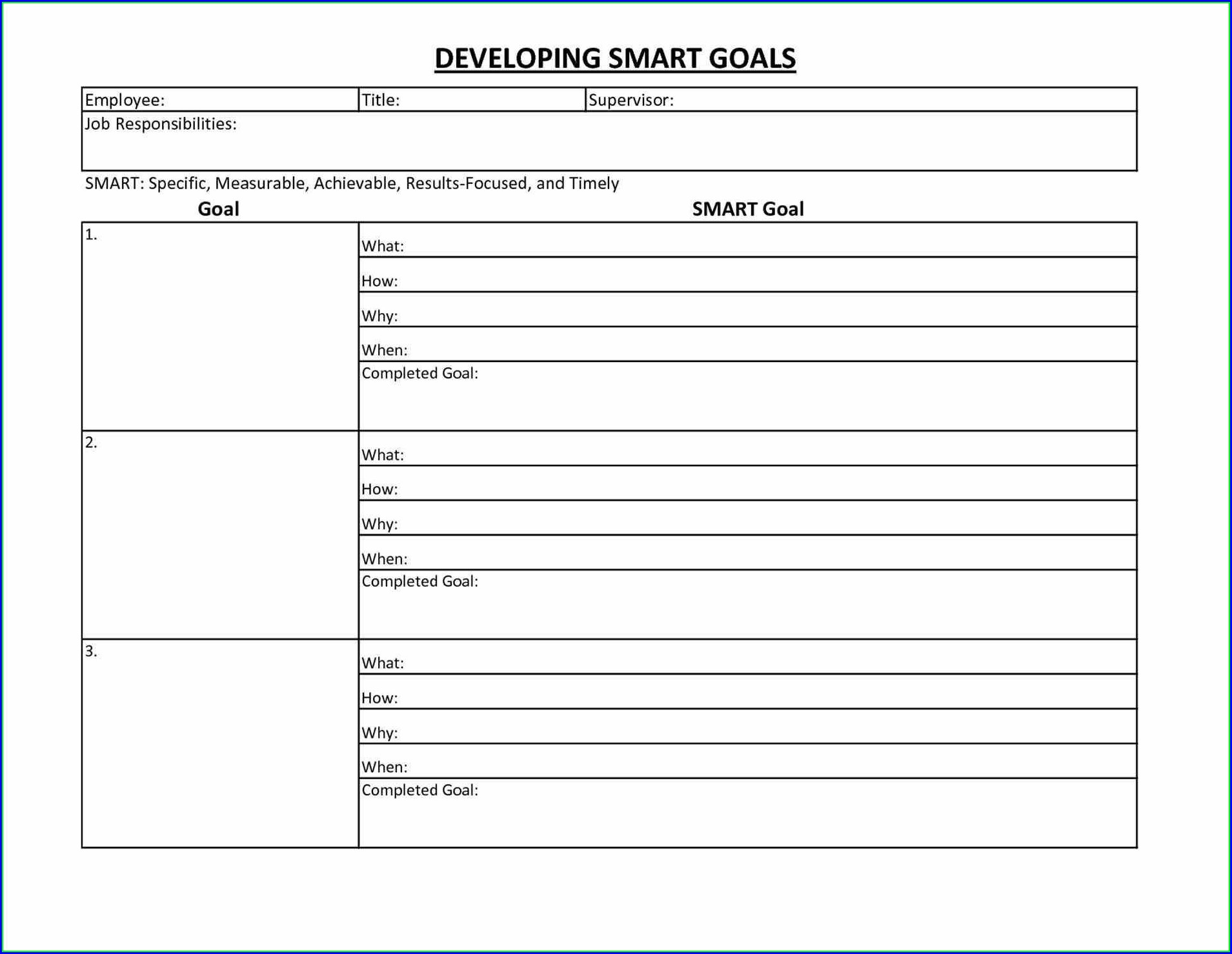 Smart Goals Worksheet For Employees