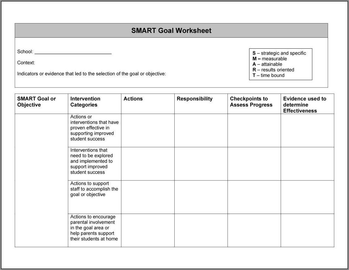 Smart Goals Worksheet Word Doc
